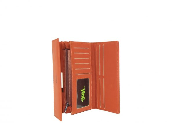 Verde πορτοφόλι γυναικείο πορτοκαλί με ιδιαίτερη υφή