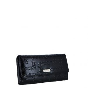 Doca πορτοφόλι γυναικείο μαύρο με τύπωμα λογότυπο
