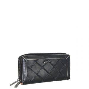 Doca πορτοφόλι γυναικείο μαύρο με διάτρητες λεπτομέρειες