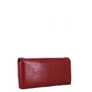 Doca πορτοφόλι γυναικείο κόκκινο με ανάγλυφο λογότυπο και μαγνητικό κούμπωμα
