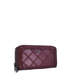 Doca πορτοφόλι γυναικείο μπορντό με διάτρητες λεπτομέρειες