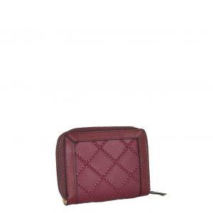 Doca πορτοφόλι γυναικείο μπορντό με διάτρητες λεπτομέρειες σε μικρό μέγεθος