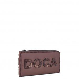 Doca πορτοφόλι γυναικείο ροζ με ανάγλυφο λογότυπο