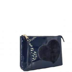 Verde τσάντα χεριού μπλε με λεπτομέρεια καρδούλα