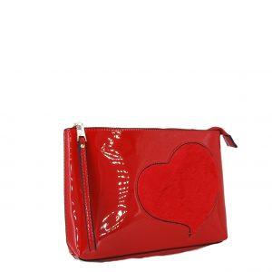 Verde τσάντα χεριού κόκκινο με λεπτομέρεια καρδούλα