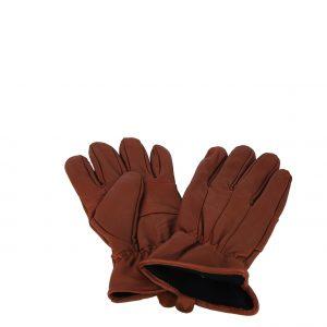 Carla Mosse Creations γάντια ανδρικά καφέ δερμάτινα με εσωτερική επένδυση φλις