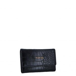 Verde πορτοφόλι γυναικείο μαύρο με κροκό υφή