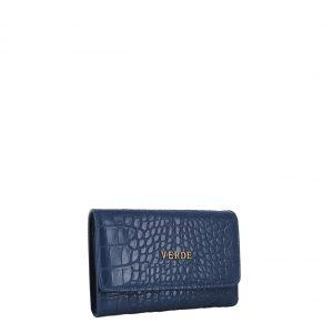 Verde πορτοφόλι γυναικείο μπλε με κροκό υφή