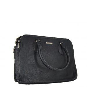 Τσάντα χεριού και χιαστί γυναικεία μαύρο με 3 κεντρικές θέσεις