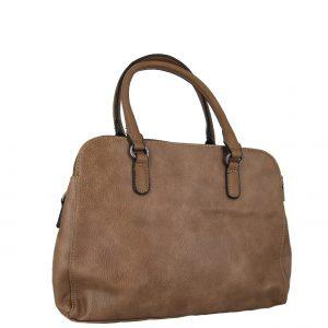 Τσάντα χεριού και χιαστί γυναικεία καφέ με 3 κεντρικές θέσεις.
