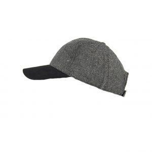 Karfil ανδρικό καπέλο jockey μαύρο ψαροκόκαλο