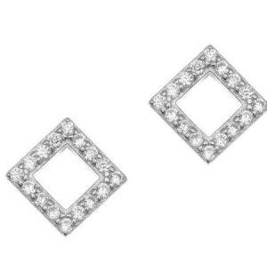Σκουλαρίκι ασήμι 925 σχήμα ρόμβος ασημί