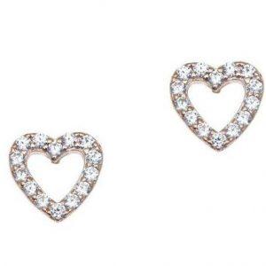 Σκουλαρίκι ασήμι 925 ροζ-χρυσό σχήμα καρδιά