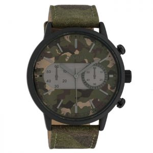 Oozoo Timepieces XXL Camo Leather Strap 50mm
