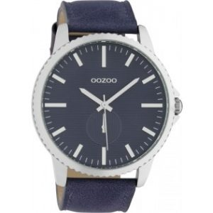 Oozoo Timepieces Evening Blue Leather Strap 48mm