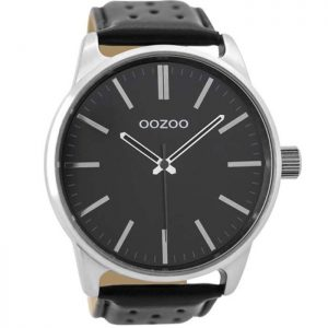 Oozoo Timepieces Black Leather Strap 48mm
