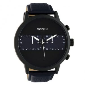 Oozoo Timepieces XXL Blue Leather Strap 50mm
