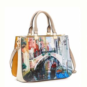 Verde τσάντα χεριού και χιαστί γυναικεία μπεζ με ζωγραφιά