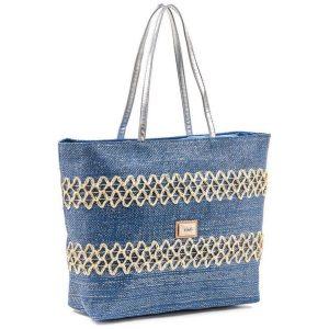 Verde τσάντα θαλάσσης γυναικεία μπλε-ασημί