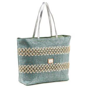 Verde τσάντα θαλάσσης γυναικεία πράσινο-ασημί