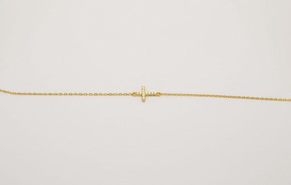 Βραχιόλι χρυσό επιπλατινωμένο ασήμι 925 με σταυρό και ζιρκόν