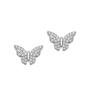 Σκουλαρίκια ασημί επιπλατινωμένο ασήμι 925 πεταλούδα με ζιρκόν