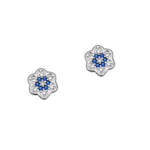 Σκουλαρίκια ασημί επιπλατινωμένο ασήμι 925 λουλούδι με ζιρκόν