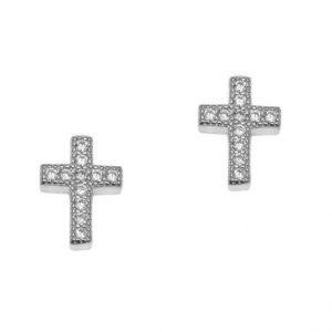 Σκουλαρίκια ασημί επιπλατινωμένο ασήμι 925 σταυρός