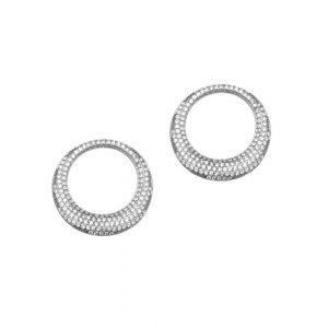 Σκουλαρίκια ασημί επιπλατινωμένο ασήμι 925 κύκλος με ζιρκόν