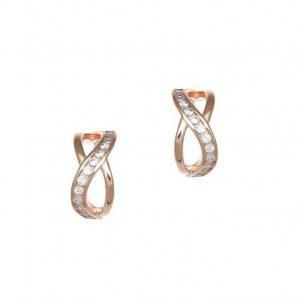 Σκουλαρίκια ροζ-χρυσό επιπλατινωμένο ασήμι 925 ζιρκόν
