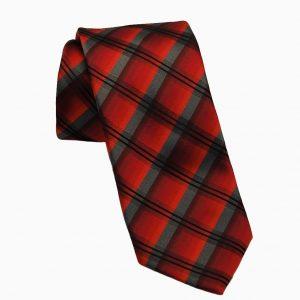 Ανδρική μεταξωτή γραβάτα με σχέδιο κόκκινο μαύρο καρό