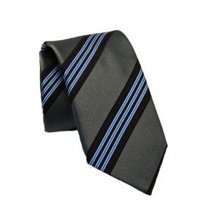 Ανδρική μεταξωτή γραβάτα γκρι με μπλε γραμμές