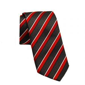 Ανδρική μεταξωτή γραβάτα μαύρη-κόκκινη