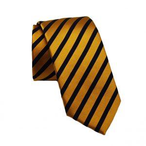 Ανδρική μεταξωτή γραβάτα κίτρινη-μαύρη