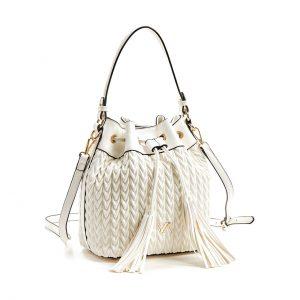 Verde τσάντα πουγκί χεριού και χιαστί γυναικεία άσπρη 16-5850