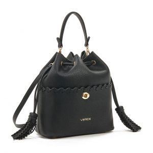 Verde τσάντα πουγκί χεριού και χιαστί γυναικεία μαύρη 16-5927